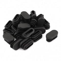 15 mm x 30 mm műanyag ovális alakú végsapka csőbetét fekete, 24 darab E7M5