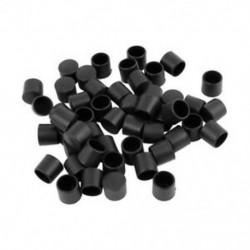 1X (50 db fekete gumi PVC rugalmas, kerek végvédő sapka, kerek 12 mm-es lábfedelet L2J5)