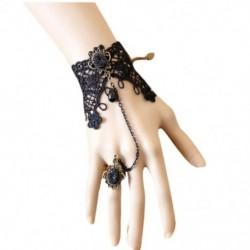 1X (Retro női hölgy lányok csipke láncú karkötő karkötő ujjgyűrűvel és O8S1