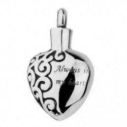 Mindig a szívemben rozsdamentes acél szív hamvasztás Urn emlékmű medál Sil O8J0