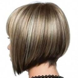 Rövid hajú Cosplay haj paróka női természetes valódi party paróka Q8S7