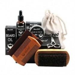 4X (BlueZOO férfi bajuszkrém szakáll-olajkészlet StorY4M5 bajuszfésű-kefével
