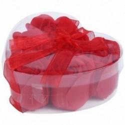 6 db vörös illatú fürdőszappan rózsaszirom az E6C8 szív alakú dobozában