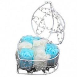 6 db illatos fürdőszappan rózsaszirom vas szívkosárban (véletlenszerű színű) U9P8