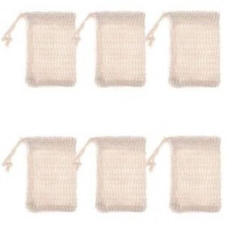 6 db természetes hámlasztó szappan táskák kézzel készített Sisal szappan táskák természetes Sisal U8W6
