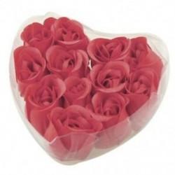 2X (12 darab vörös illatos rózsafüves szirom szappan esküvői kedvenc   szív alakú doboz Q1D4)