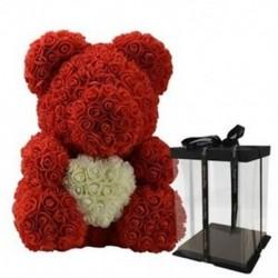 Rózsa piros és fehér - Szerelem szív mackó művirágok szappan rózsa virág mesterséges Krisztus X2Z2