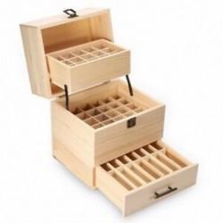 1X (3 rétegű fa tárolódoboz hordozó szervező tároló doboz illóolaj BoW1P5)