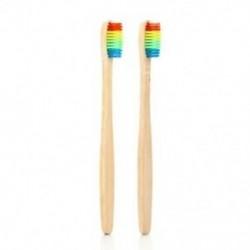 Vaclav 2Pc bambusz fogkefe Rainbow bambusz fogkefe rostos fogkefe Co I6N5