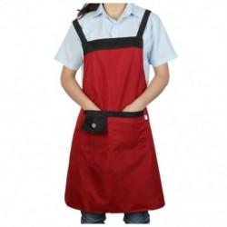 1X (Chef Waiter 2 zsebbel Bib kötény piros N2L2)