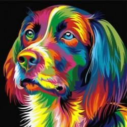 DIY keret nélküli kép a falifestményen Állati absztrakt kutya rajz Diam C1H5