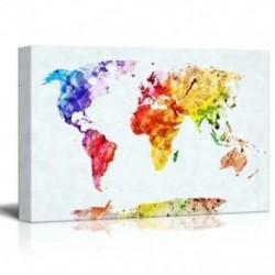 1X (Vászon nyomtat falfestményt - akvarell stílusú világtérkép | Modern fali dekoráció / L8B8