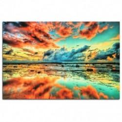 Absztrakt trippi naplemente a tengerparti art ruhával poszter otthon fali dekorációval 24x36inch J3P7