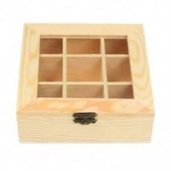 Fa teazsák ékszer-szervező Mellkas tárolódoboz 9 rekeszes tea doboz O W3W6