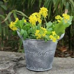 4X (Vintage kézműves virágbolt Vasvirág vödör virágtartó DecoratiJ8V7