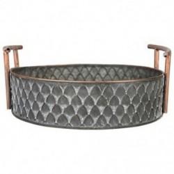3X (európai kézműves kerek antik dekoratív tálca Retro DE6Y1 fogantyúval