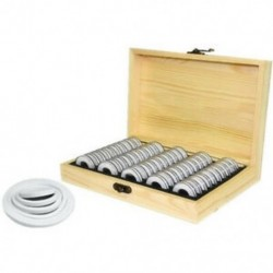 50 érme tároló doboz kerek érme tároló fa dobozban emlékérme Coll W4K6