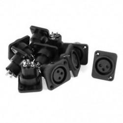 Audio XLR női aljzathoz csatlakozó aljzat fekete ezüst hangjelzés 10 db I9A8
