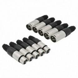 10 db 3 tűs XLR forrasztási típusú csatlakozó 5 db és 5 hüvelyes dugaszkábel Connecto A9F5
