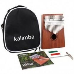 Kalimba hüvelykujj zongora 17 kulcsok mahagóni fából, táskával, kalapáccsal és zenével I1W0