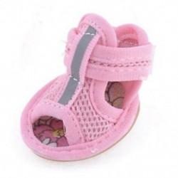 2 pár gumi talp rózsaszín hálószandál Yorkie Chihuaha kutyacipő, méret 1 L4I2