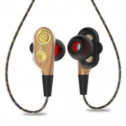 3,5 mm-es hifi vezetékes fülhallgató, kétdinamikus, négymagos hangszóró, fülbe helyezhető fülhallgató, Fle U8R8