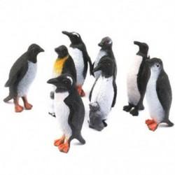 Műanyag pingvin-óceáni állati játékmodell ajándék 8db fekete   fehér E9T7