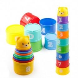 9 db oktató babajátékok 6 hónapos és figurák betűkkel Hajtogatott stack kupa torony R6V5