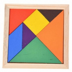 Oktatási, fából készült, hét darab puzzle, Tangram agy-ugratók babajáték P9A1
