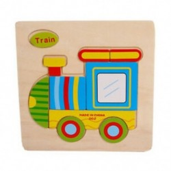 Fa aranyos vonat puzzle oktatási fejlesztő baba gyerekeknek edzőjáték Q7G1