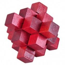 Fa vörös kilenc Pass Lock logikai puzzle Burr rejtvények Brain Teaser Intellectu P9U4
