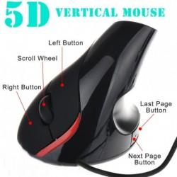 5D vezetékes optikai egér Ergonómikus csuklójavítás USB egér 1000DPI laptophoz