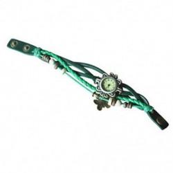 Zöld - Bronz hölgyek szövése csomagolva bőr karkötő karkötő kvarcóra TG