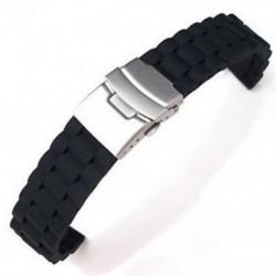 1X (fekete szilikon vízálló búvárkodó órák sávjának kihúzható kapocs 18 mm Q4D6)