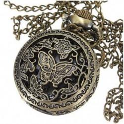 Vintage férfi hölgy bronz antik medál nyaklánc lánc üreges zsebóra V5G2