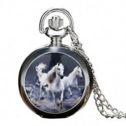 2X (három ló zsebóra fehér ló zsebóra vintage ezüst nagy p Y5L1