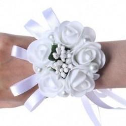 Rózsa gyöngy gyöngyös esküvői csukló virágok koszorúslány de házasság szalagkristály A1F4