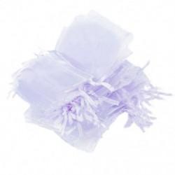 1X (50db fehér Organza húzózsinórral díszített táskák esküvői kedvenc táskák ékszerek P O8T8