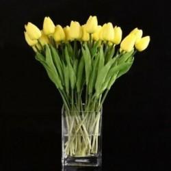 10db sárga latex valódi tapintású tulipán virág levelekkel a B6M1 esküvői csokorhoz