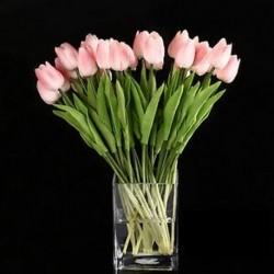 10db tulipán virág latex az esküvői csokor dekorációhoz (rózsaszín tulipán) B4M7