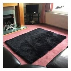 1X (otthoni szőnyegek, nappali hálószoba plüss szőnyegek, fekete 40 * 40cm W6N5)