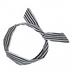 Fehér / Fekete nők csíkos nyomtatott szövet bevonatú huzallal borított sál HeadBand Y6C7