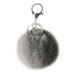Többszínű valódi nyúlszőr haj Pompom golyós kulcstartó gyűrű a kézitáskához E2W5
