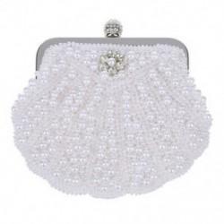 Elegáns gyöngyház-menyasszonyi tengelykapcsoló táska party kézitáska héjzsák fehér E6T5 Q5T7