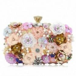 Női tengelykapcsolók színes virágos esti táska flitterrel Satin esti tengelykapcsoló W4P3