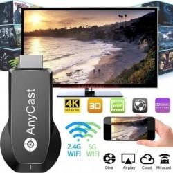 1x Vezeték nélküli azonos képernyő eszköz 4K UHD Media Streamer képernyő tükröző TV-stick 2.4G / 5G kettős WIFI WiFi