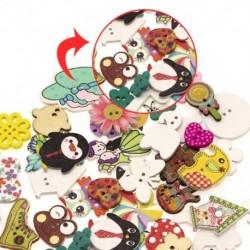 Dekorációs gombok kézművességhez 50 darab rajzfilm állatok fagomb 2 lyukkal a barkács varrás vegyes mintával