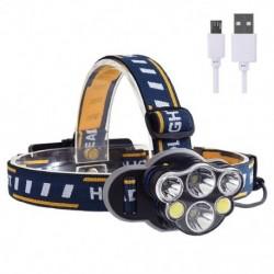 1x USB újratölthető fejlámpa, 8 üzemmódú 6/7/8 LED-es  kempinghez, túrázáshoz, horgászathoz, kerékpározáshoz,