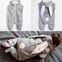 1x Baba szürke nyúl kapucnis hosszú fülekkel aranyos farkú újszülött gyerekek nyuszi rugdalózó fotós kellék