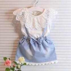 1x kétrészes kislány ujjatlan ruha gyerek pamut csipke galléros ruha